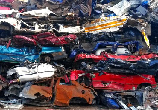 Wall of scrap cars