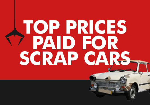 Text: Top prices paid for scrap cars